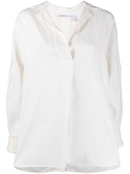 Белая рубашка с воротником из вискозы Agnona