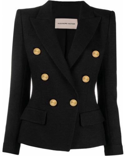 Черный удлиненный пиджак двубортный на пуговицах Alexandre Vauthier