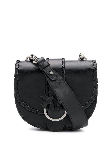 Skórzana torebka czarna z logo Pinko