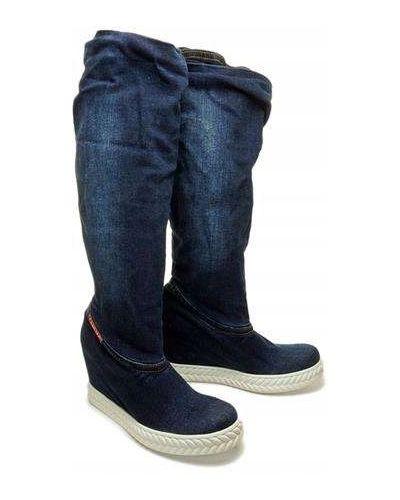 Klasyczne niebieskie jeansy skorzane Lanqier