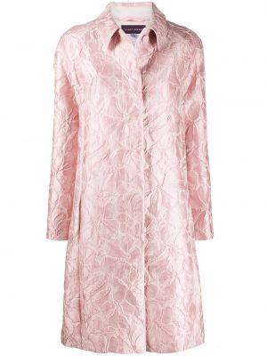 Шелковое свободное розовое расклешенное пальто Talbot Runhof