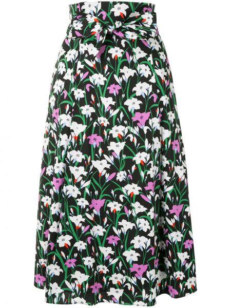 Хлопковая черная с завышенной талией юбка до середины колена Veronica Beard