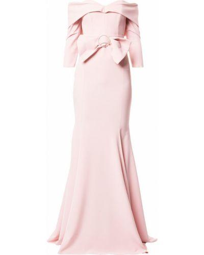Открытое приталенное розовое драповое вечернее платье Rhea Costa