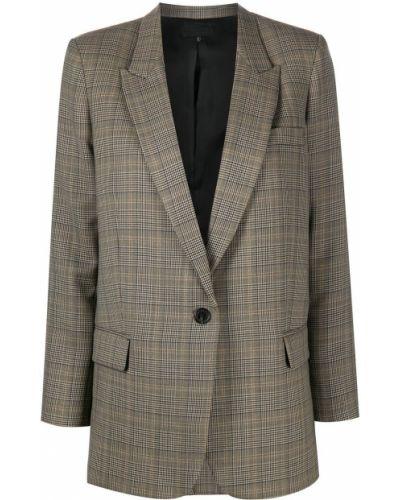 Шерстяной коричневый удлиненный пиджак с карманами Nili Lotan