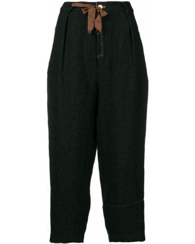 Черные укороченные брюки с поясом узкого кроя Aleksandr Manamïs