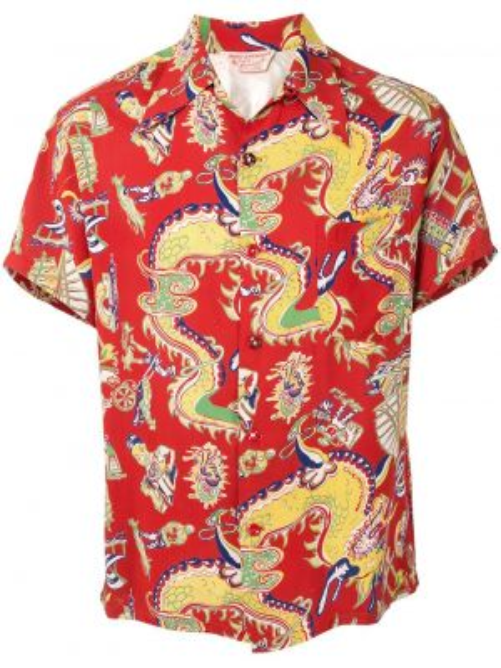 Koszula krótkie z krótkim rękawem klasyczna prosto Fake Alpha Vintage