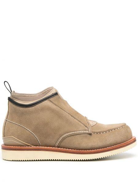 Beżowy włókienniczy buty obcasy na pięcie okrągły Suicoke
