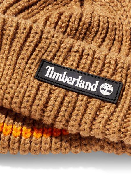 Желтая вязаная шапка с отворотом Timberland