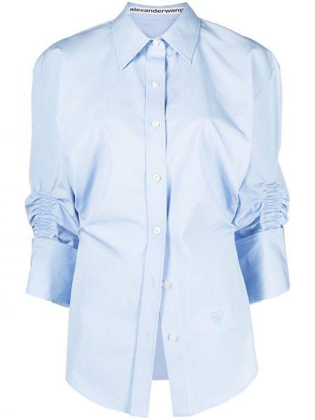 Niebieska klasyczna koszula bawełniana z falbanami Alexander Wang