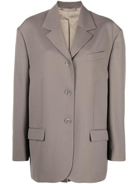 Однобортный коричневый удлиненный пиджак с карманами Acne Studios