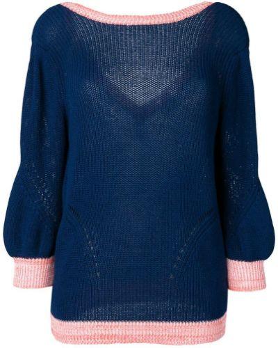 Синий свитер со спущенными плечами в рубчик с вырезом Chiara Bertani
