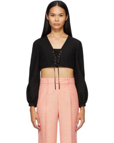 Jedwab czarny bluzka z długimi rękawami na sznurowadłach Gucci