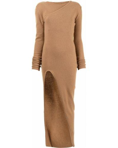 Sukienka długa z długimi rękawami - brązowa Rick Owens