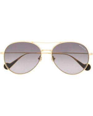 Прямые желтые солнцезащитные очки металлические Moncler Eyewear