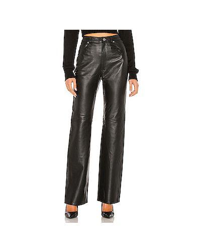 Кожаные черные брюки с карманами на молнии Grlfrnd