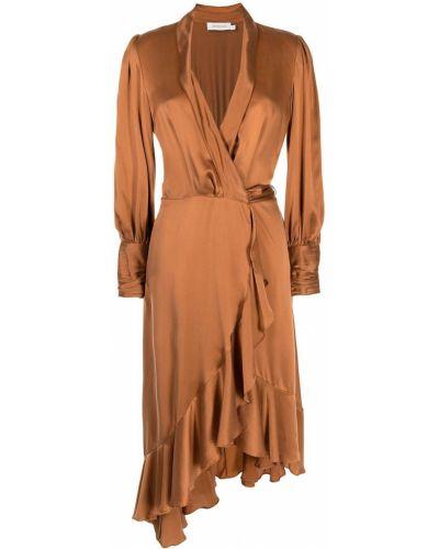 Оранжевое платье с оборками Zimmermann