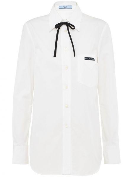 Классическая рубашка с воротником на пуговицах с нашивками с карманами Prada