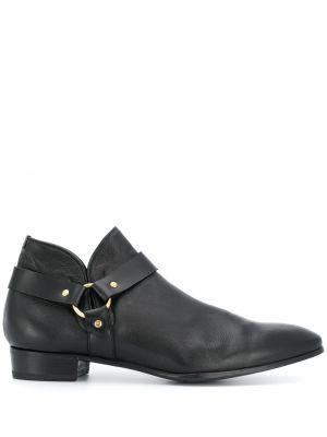 Золотистые с ремешком кожаные черные ботинки Lidfort