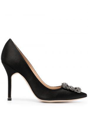 Кожаные черные туфли на шпильке на каблуке Manolo Blahnik