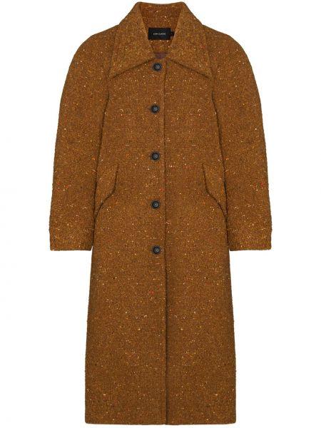 Коричневое пальто классическое из альпаки с воротником Low Classic