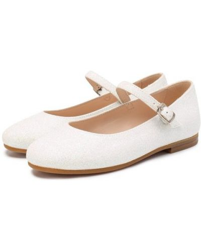 Туфли с глиттером белые Il Gufo