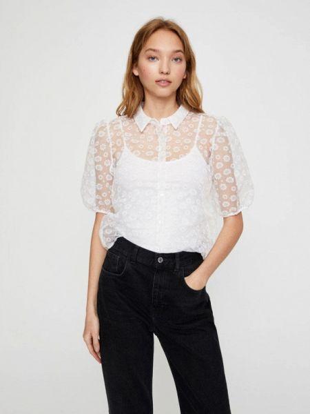 Блузка с коротким рукавом белая осенняя Pull&bear