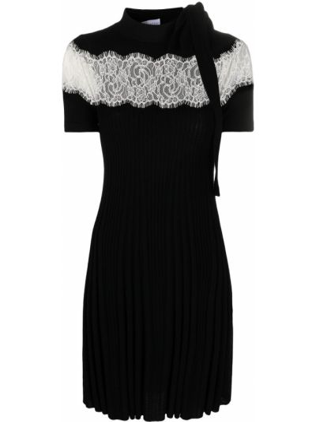 Шерстяное кружевное черное платье мини Red Valentino