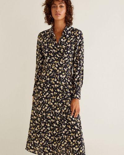 Платье миди с запахом с поясом Mango