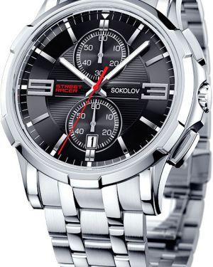 Часы серебряный черный Sokolov