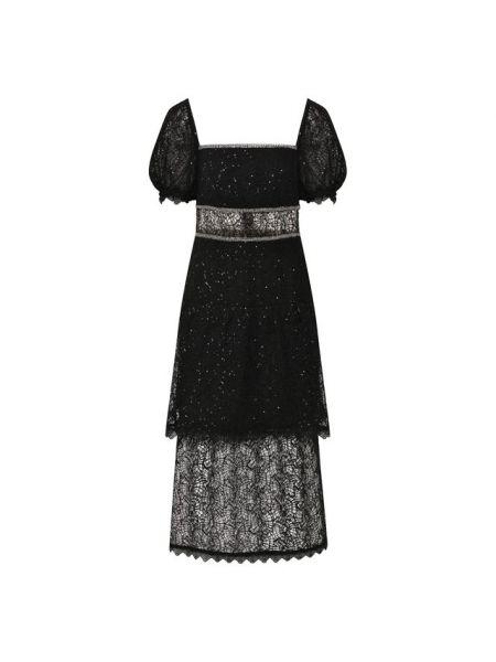 Черное приталенное платье миди с пайетками из вискозы Self-portrait