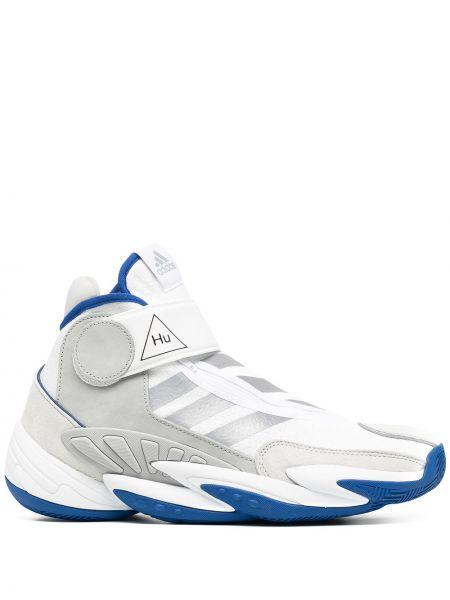 Biały włókienniczy sneakersy z łatami na sznurowadłach Adidas