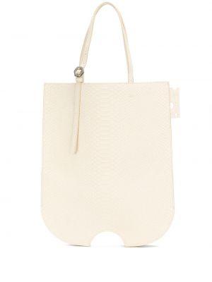 Biały torba na zakupy z prawdziwej skóry matowy Off-white