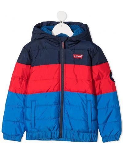 Классическое синее пальто с капюшоном с вышивкой с манжетами Levi`s Kids
