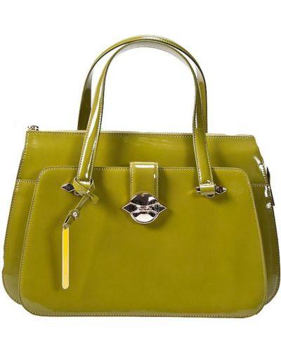 Кожаная сумка зеленый лаковый Cromia