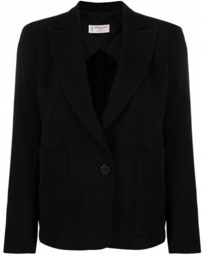 Однобортный черный удлиненный пиджак с накладными карманами Alberto Biani