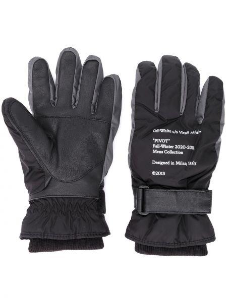 Prążkowane czarne rękawiczki skorzane Off-white