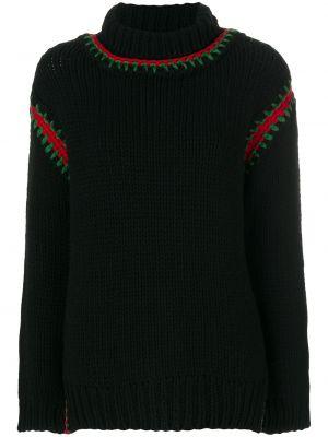 С рукавами шерстяной черный топ с вышивкой Moncler Grenoble
