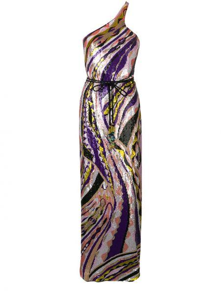 Фиолетовое приталенное шелковое вечернее платье с пайетками Emilio Pucci