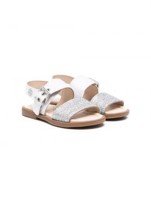 Białe sandały skorzane peep toe Florens