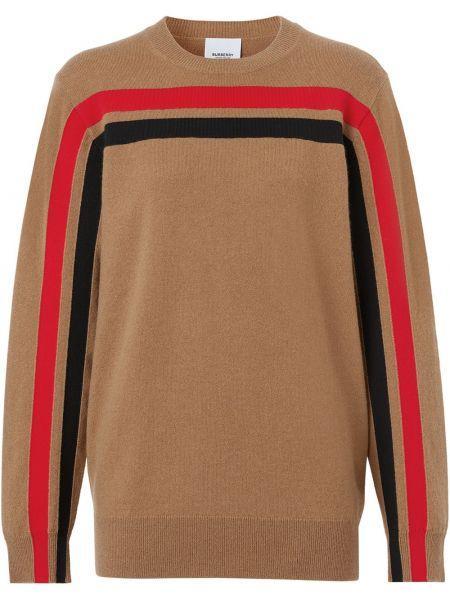 Z rękawami brązowy kaszmir długi sweter z mankietami Burberry