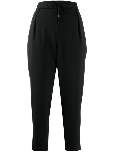 Брючные шерстяные черные укороченные брюки с высокой посадкой Fay
