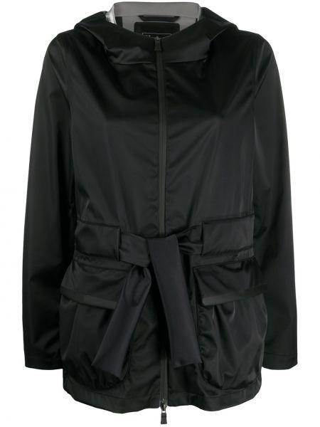 Куртка с капюшоном черная на молнии Herno