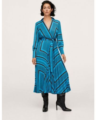 Синее платье макси длинное Mango