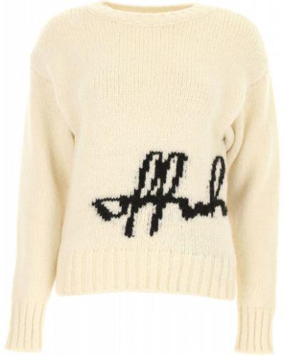 Biały sweter dzianinowy z długimi rękawami Off-white C/o Virgil Abloh
