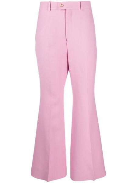 Różowy wełniany spodni spodnie z kieszeniami Gucci
