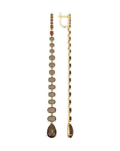 Золотые серьги с топазом удлиненные Sokolov