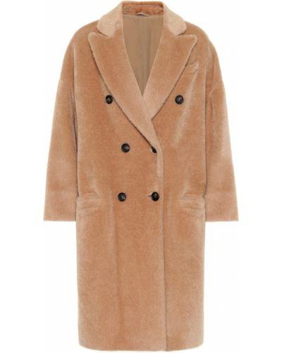 Мягкое коричневое шерстяное пальто на кнопках Brunello Cucinelli