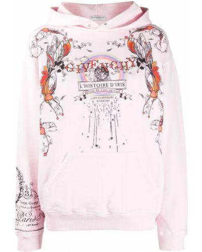 Bawełna z rękawami różowy bluza z kapturem z kapturem Givenchy