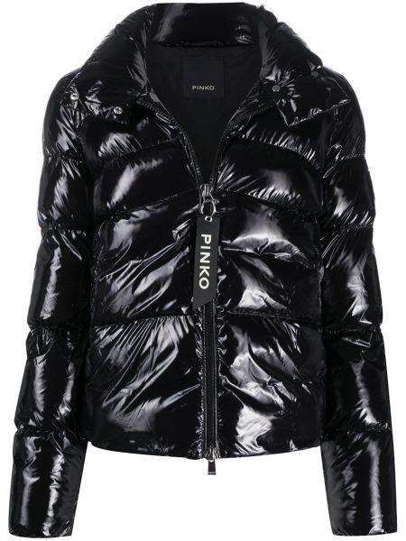 Черная стеганая куртка двусторонняя с декоративной отделкой с длинными рукавами Pinko