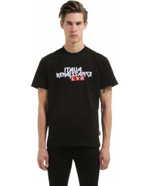 Prążkowany czarny t-shirt bawełniany Italia Independent